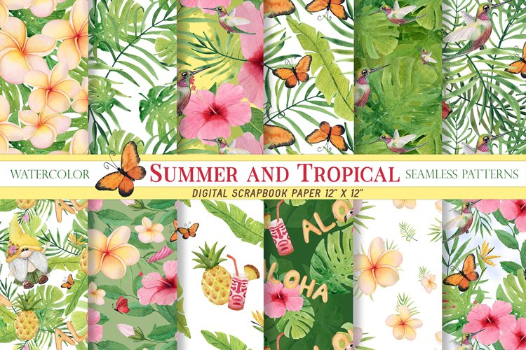 Watercolor Tropical Summer seamless patterns, Hawaii