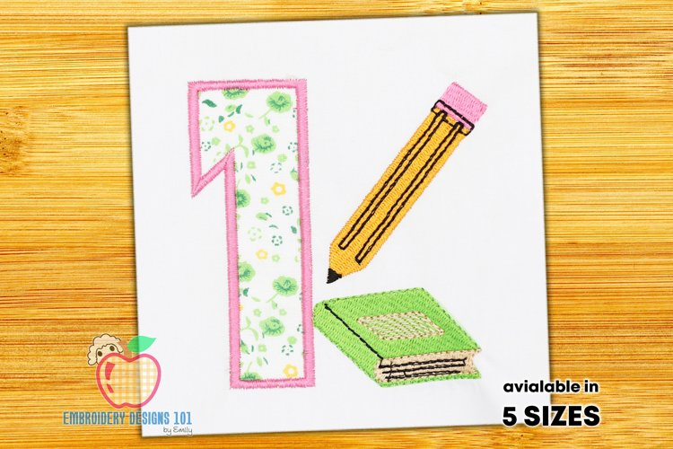 A Book With Pencil Near One Applique example image 1