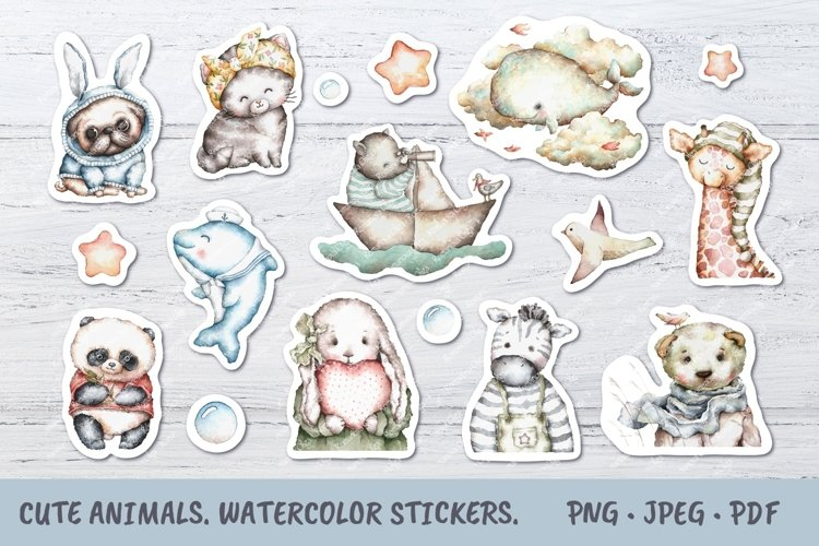 Animals printable stickers. Watercolor kids illustrations