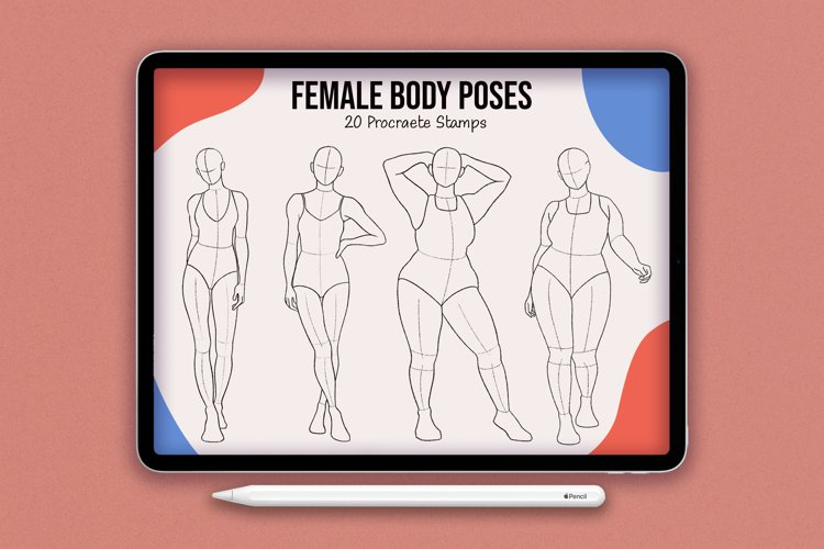 20 Realistic Female Body Poses Stamps for Procreate example image 1