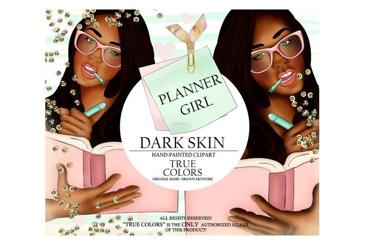 Dark Skin Planner Girl Clip Art/Planner Girl Clipart example image 1
