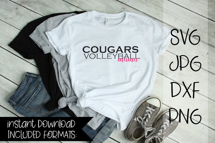 Cougars Volleyball Mama, A Volleyball SVG example image 1