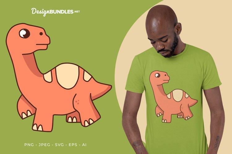 Walking Red Dino Vector Illustration For T-Shirt Design