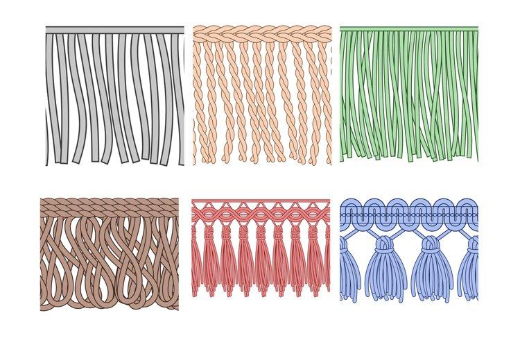 Fringe trim. Textile fringes, raw cloth edge and fashion gar example image 1