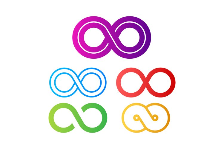 Infinity in abstract style on white background. Round logo. example image 1