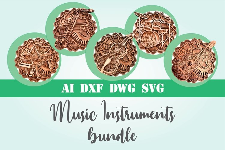 Bundle music instruments 3d svg layered guitar saxophone