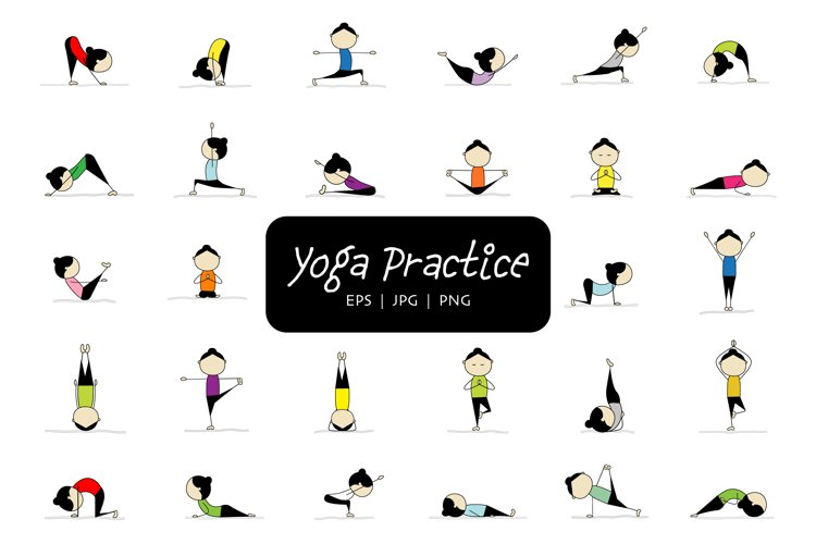 Woman practicing yoga, 28 poses. Vector illustration