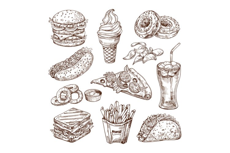 Sketch fast food. Burger hot dog, sandwich snacks, chips and example image 1