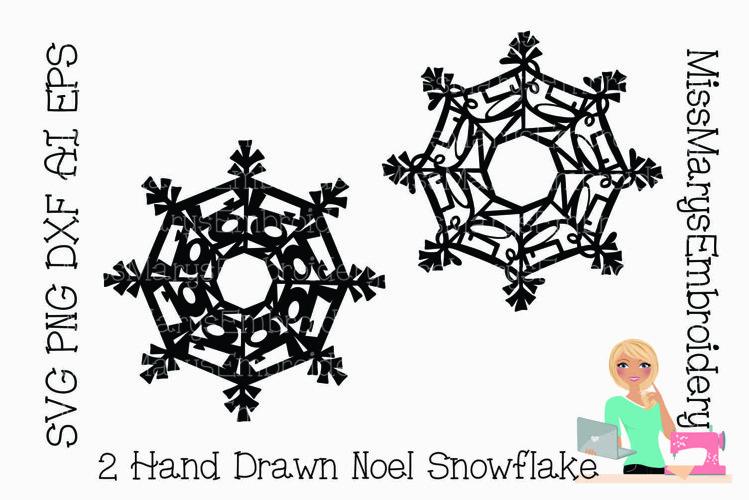 Noel Word Snowflake SVG | Noel SVG | Snowflake SVG | example image 1