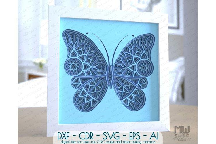 M157 - 3D Butterfly Pattern Shadow Box Mandala SVG DXF