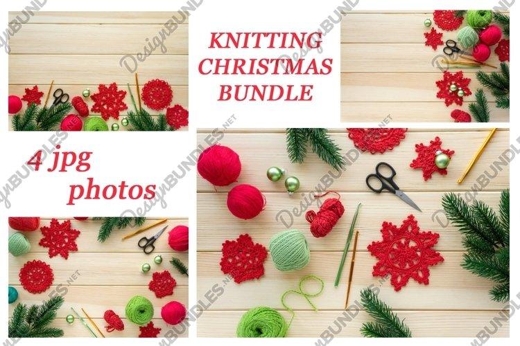 Christmas knitting flat lay bundle - 4 photos example image 1