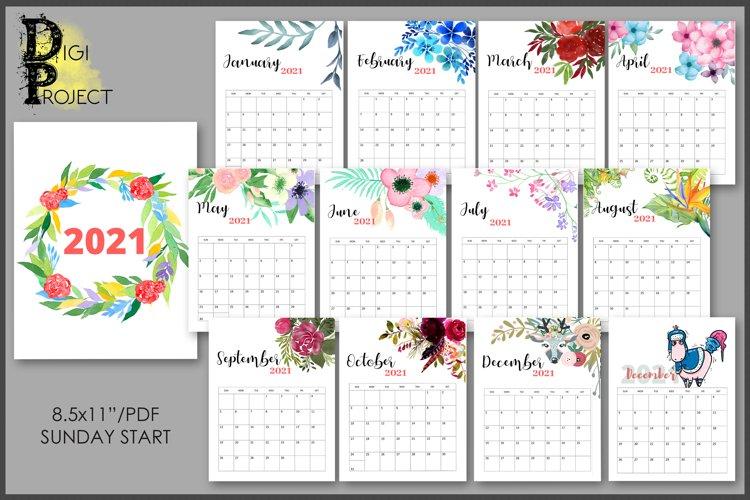 2021 Flowers Calendar Printable, Watercolor Botanical ...
