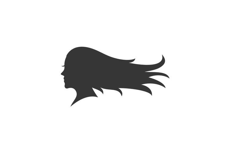 Beauty girl, Woman long hair silhouette logo design example image 1