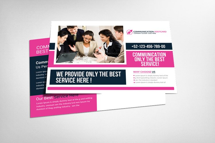 Communications Company Postcard Template example image 1