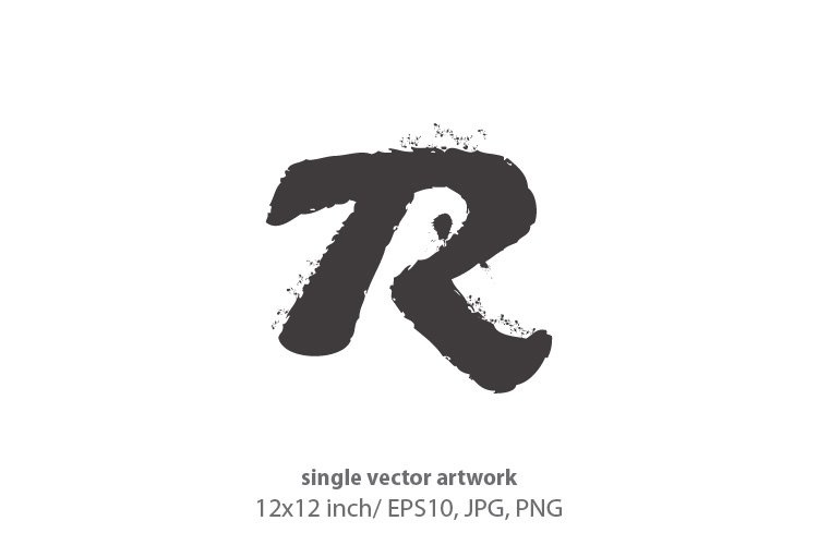 ink splash, letter r - single vector artwork example image 1