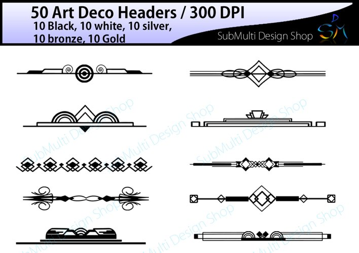 Art deco / art deco headers / art deco header clipart / art deco digital clipart / art deco frames / High Quality / template headers example image 1