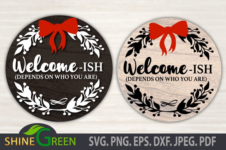 Welcome-ISH SVG Cut File, Floral Round Sign for Christmas example image 1