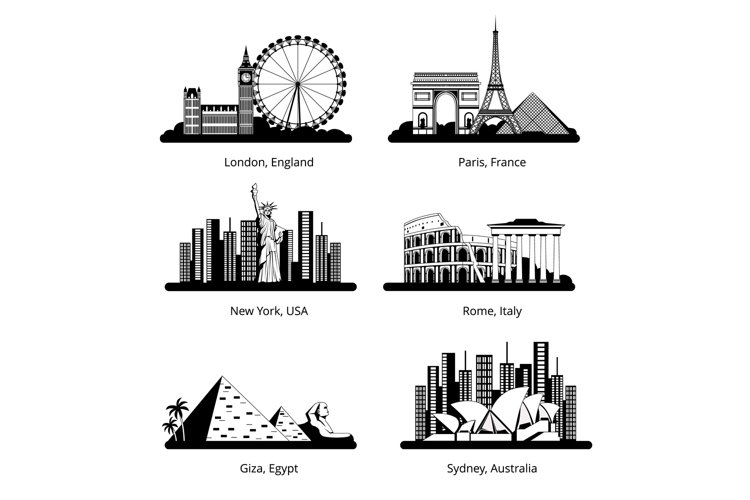 Vector silhouette set with panoramas of famous landmarks example image 1