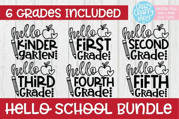 Hello School SVG DXF EPS PNG Cut File Bundle example image 1