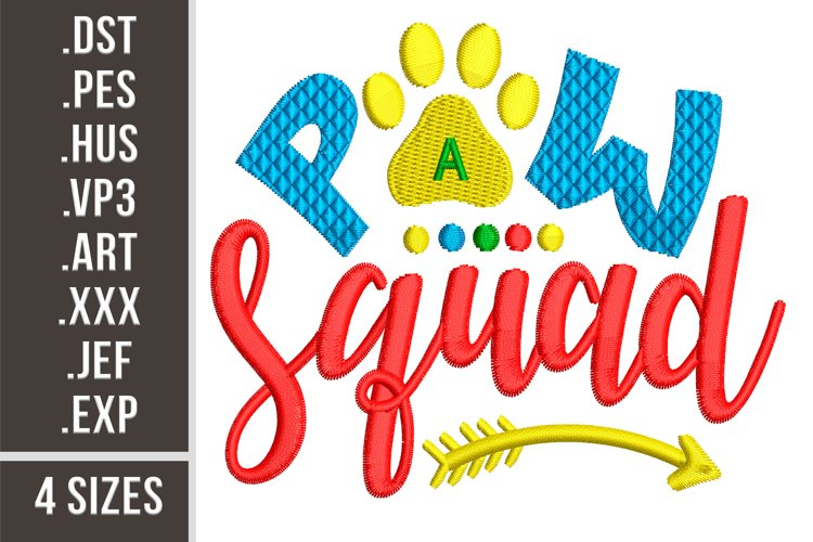 Paw Squad|Dogs design embroidery example image 1