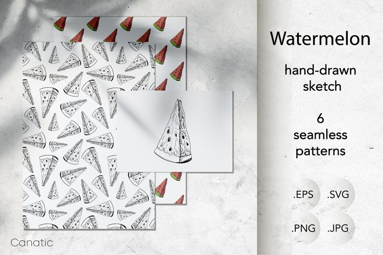 Watermelon. Hand-drawn sketch and seamless patterns