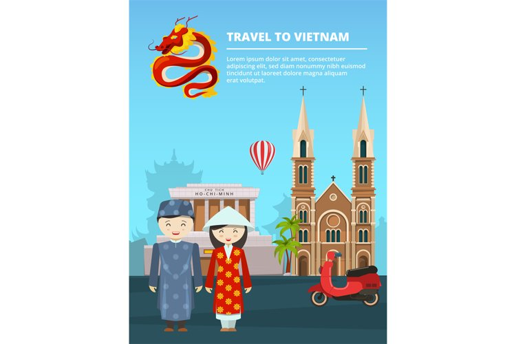 Illustration of urban landscape with Vietnam landmarks and s example image 1