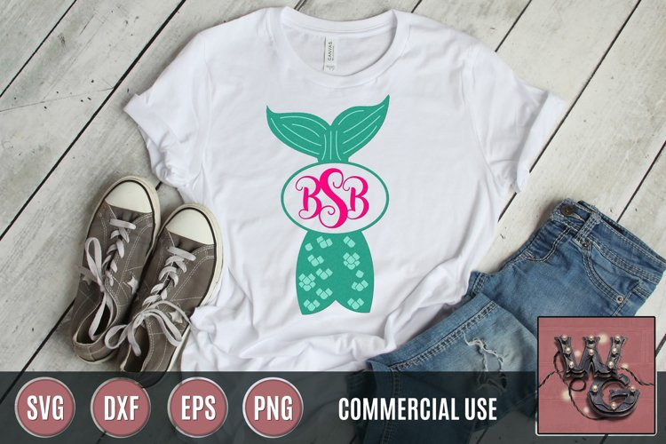Mermaid Tail Monogram SVG, DXF, PNG, EPS Commercial & Pers