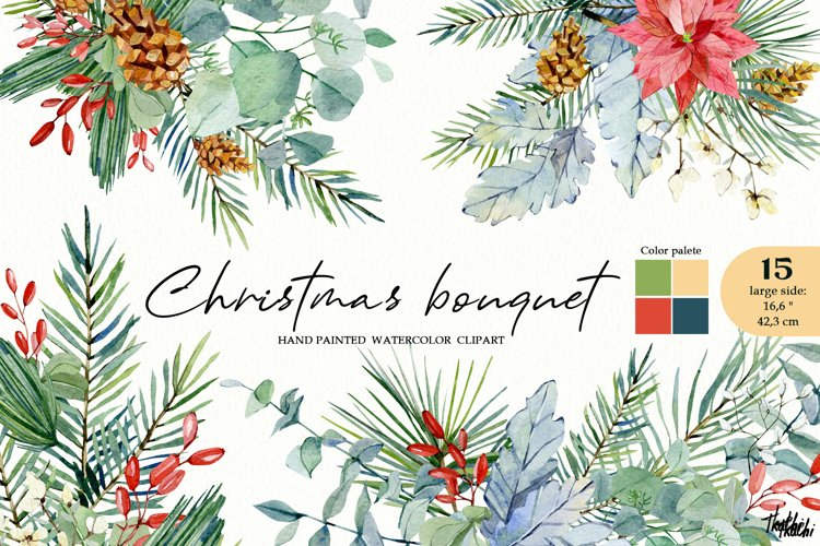 Watercolor Christmas floral clipart. Winter bouquet clipart example image 1