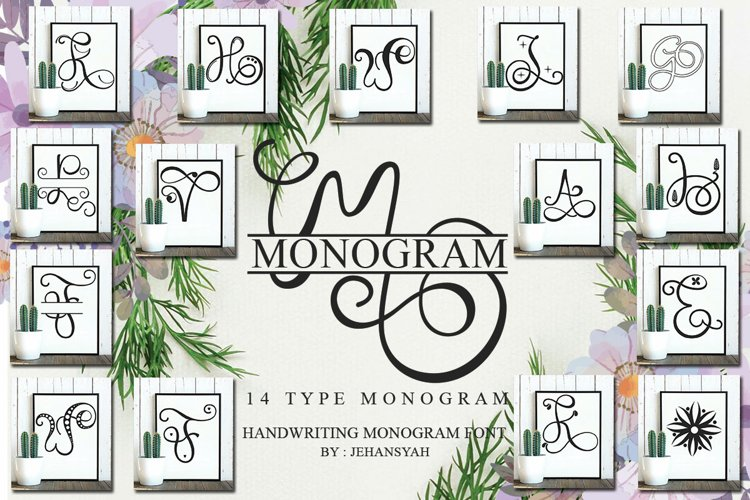 Monogram Handwriting font family example image 1