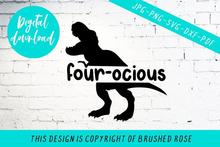 four-ocious, birthday svg, dinosaur svg,dino four years old