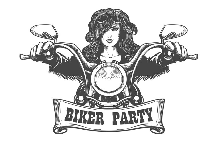 Biker Party Hand drawn Illustration example image 1