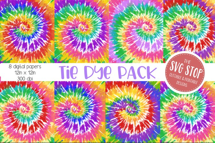 Bright Rainbow Tie Dye Digital Paper Backgrounds example image 1