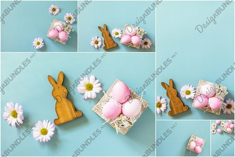 Spring flowers and Easter eggs bundle 6 stock photos.