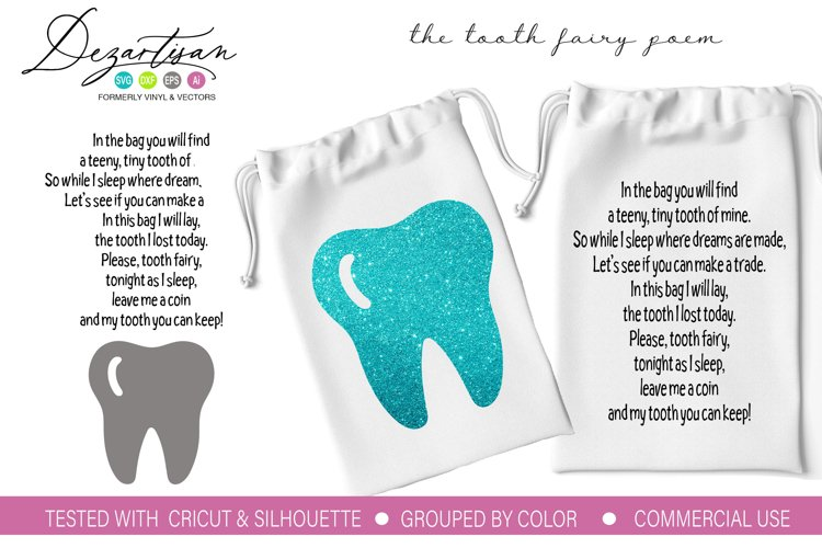 The tooth fairy poem SVG DXF PNG Cut File
