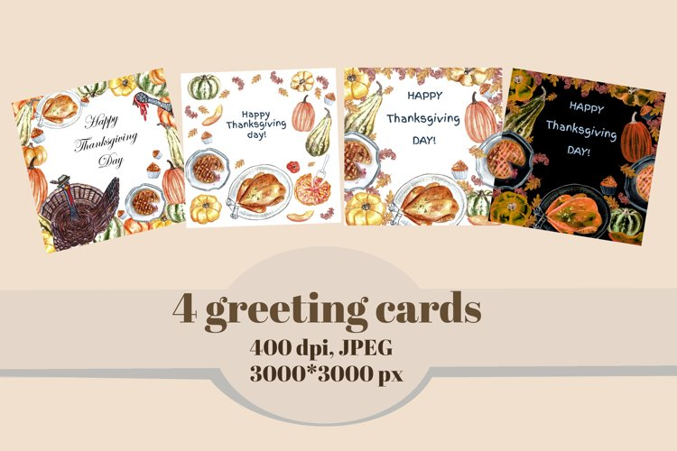 Autumn watercolor clipart set. Thanksgiving day cards. example 1