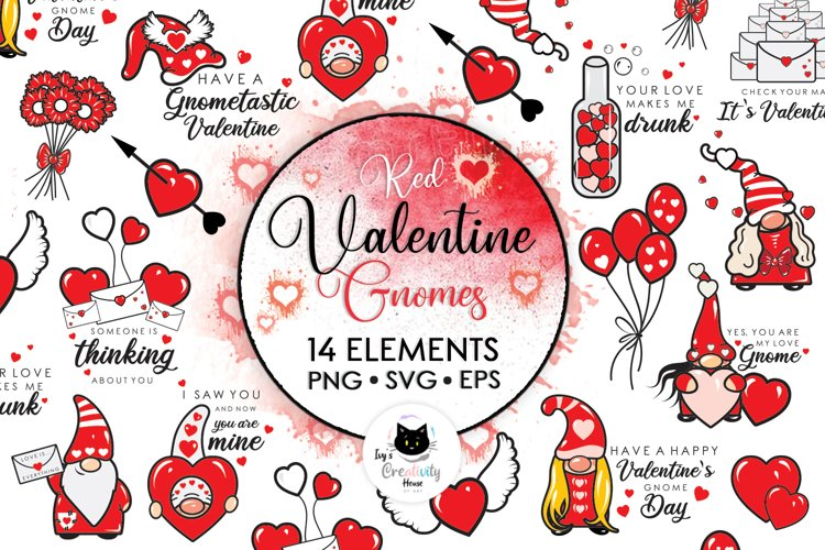 Red Valentine Gnome Clipart | Cartoon Valentine SVG Files example image 1