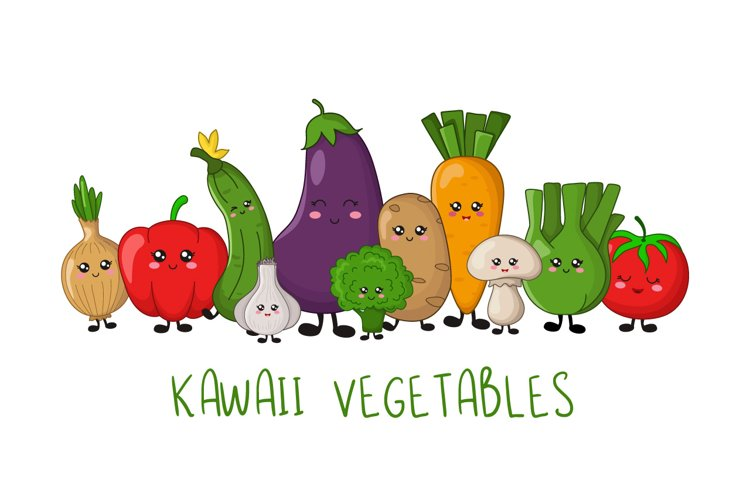 Kawaii Fruit and Vegetables example image 1