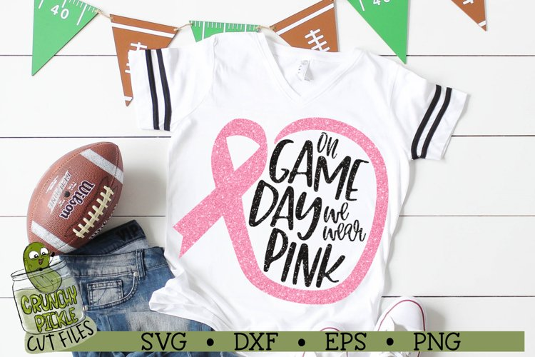 On Game Day We Wear Pink Football / Breast Cancer Awareness example image 1