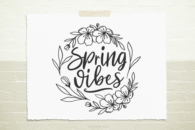 Spring vibes flower wreath SVG, Cutting file, Decal example image 1