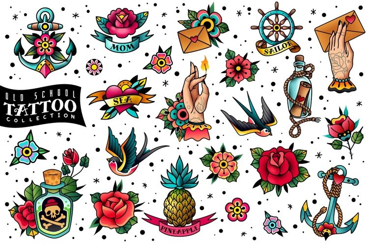 Old school traditional tattoo collection example image 1
