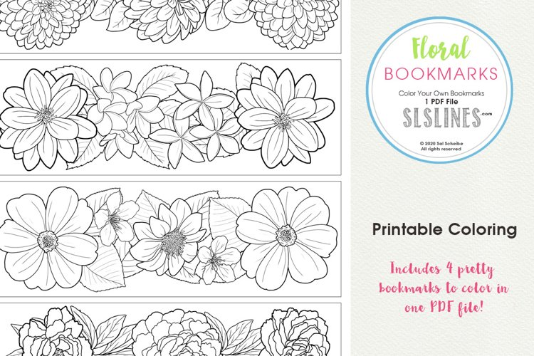 Pretty Floral Bookmarks to Color example image 1