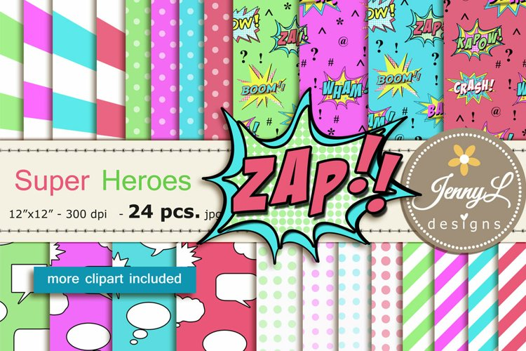Super Hero Digital Papers and Clipart SET