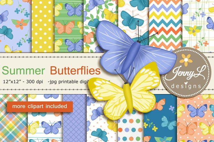 Summer Butterflies Digital Papers and Clipart SET