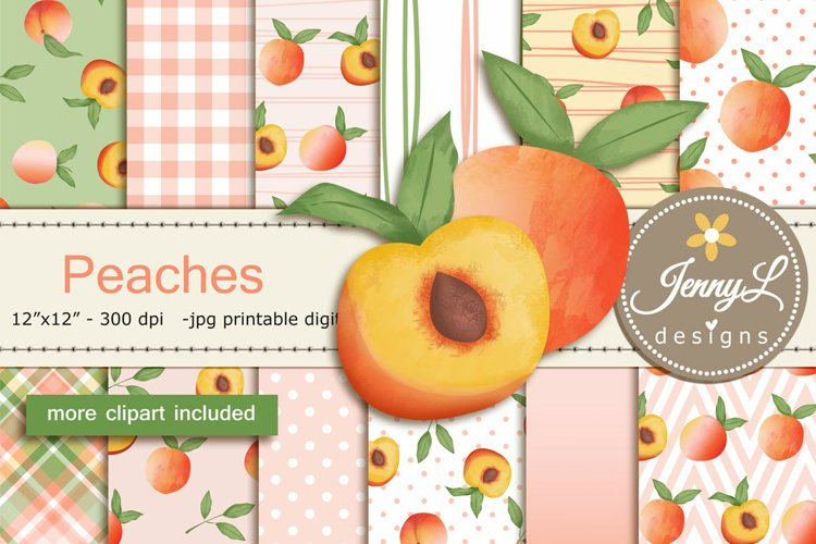Summer Peaches Digital Papers and Clipart SET