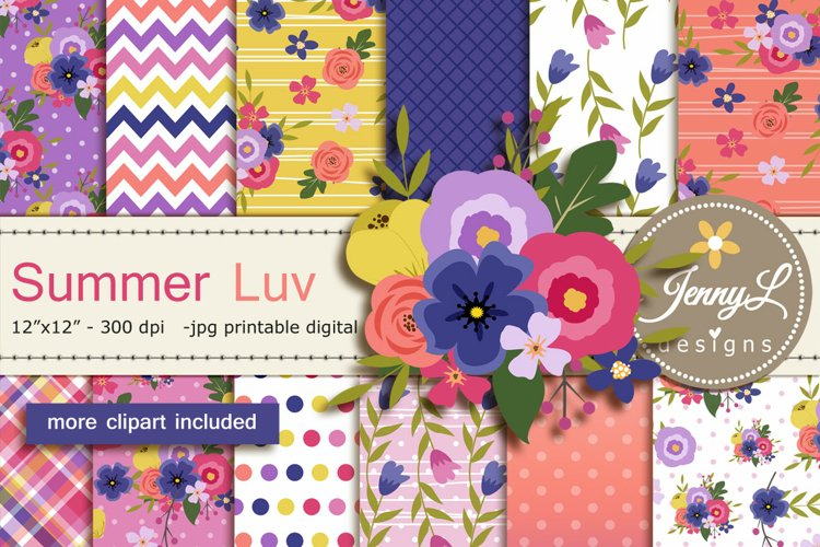 Summer Floral Digital Papers and Flower Clipart SET