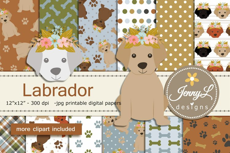 Labrador Dogs Digital Papers and Clipart