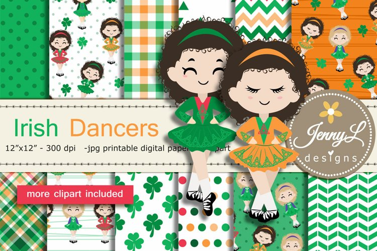 Irish Dancing Digital Papers and Irish Dancers Clipart