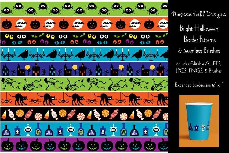 Seamless Bright Halloween Border Patterns example image 1