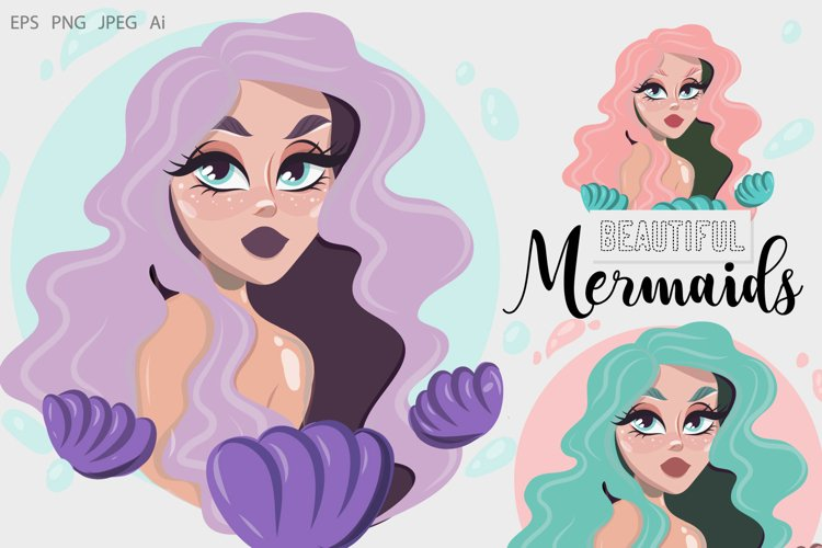 Beautiful Mermaids Hand-drawn Cliparts example image 1