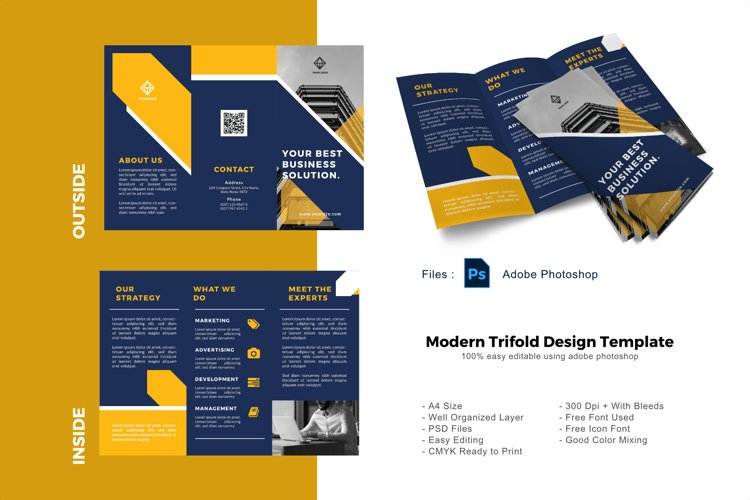 Yellow business trifold photoshop template